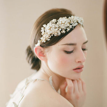 Bridal headpiece tiara headband Golden flower and by myrakim