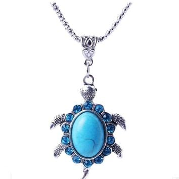 "Blue Turquise 20"" Turtle Necklace"