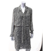 Jones New York Womens V-Neck Animal Print Wear to Work Dress