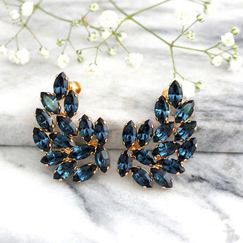 Ear Cuff Earrings, Blue Navy Earrings, Bridal Statement Earrings, Blue Swarovski Earrings, Crawler Earrings, Bridal Climbing Earrings