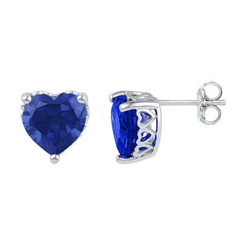 Sterling Silver Womens Lab-Created Blue Sapphire Heart Solitaire Stud Earrings 7.00 Cttw