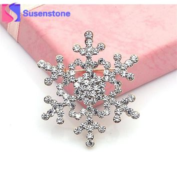 2017 Vintage Brooch Pin Crystal Rhinestone Big Snowflake Winter snow Theme Brooches &Retail