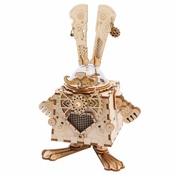 Robotime 3D Puzzle DIY With Movement Assembled Model Wooden for Children Music Box Bunny AM481---NEW!!!