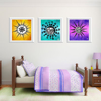 Printable Wall Art Poster DIY - Flower & Sun Illustrations