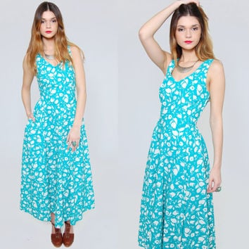 Vintage 80s FLORAL Sundress Teal & White Tropical Flower Print Summer Day Dress LAURA ASHLEY Midi Dress