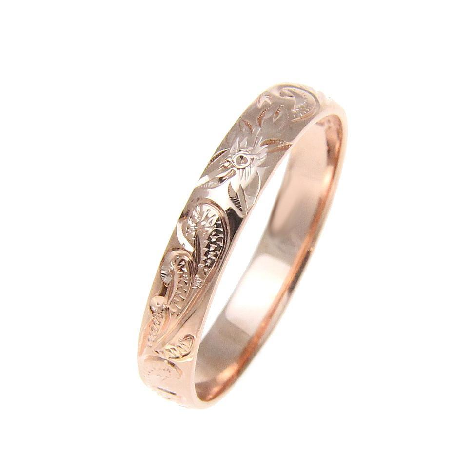 925 Sterling Silver Pink Rose Gold 4mm Hawaiian Scroll Hand Engraved Ring  Band 5072f276d