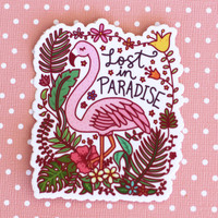 Flamingo Lost in Paradise Vinyl Sticker