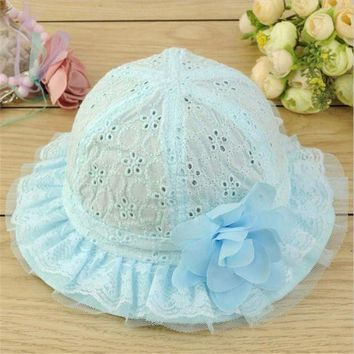 LMF78W Baby Hollow Out Flower Hat Sun Cap Pure Color Lace Sunshade Summer Beach Bucket Cap