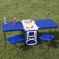 Multi Function Rolling Cooler With Table And 2 Chairs Picnic Camping Outdoor