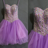 Affordable Lavender Beading Tulle Sweetheart Homecoming dresses,Beading Short prom dresses,Party dress,Women's dresses,Sweetheart Mini dress