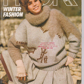 Vintage 1980s Phildar Winter Fashion knit pattern booklet #102 30 knit fashions for men and women