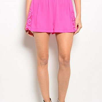 Bright Pink Lace Shorts