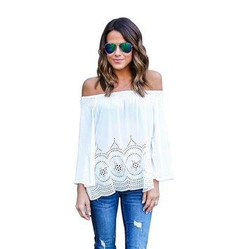 *online exclusive* laser cut off the shoulder long sleeve top