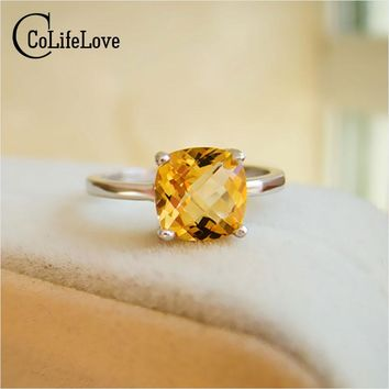 Hot sale luxury ring 2ct high quality 100% natural citrine ring real  925 Solid Sterling Silver jewelry for lady wedding ring