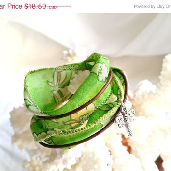 On Sale Spring Green Wrap Bracelet, Boho wrap bracelet, Vintage Sari Silk & Leather boot bracelet, Free shipping
