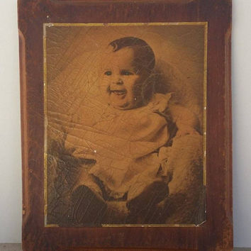Antique Baby Portrait on Wood, 1940 Vintage Baby Portrait on Wood 1940, Child collectible art, old baby photos, 1940s photo memorabilia