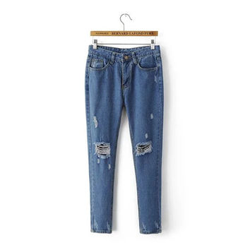 Summer Women's Fashion Ripped Holes Denim Pants [4920270980]