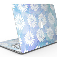 Blue and White Watercolor Flower Print Pattern - MacBook Air Skin Kit