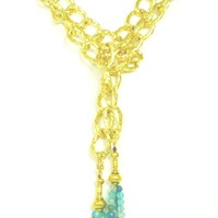 Large Link Chain Gold & Two Acqua Agate Tassels Necklace