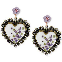 Betsey Johnson Floral Printed Heart Drop Earrings