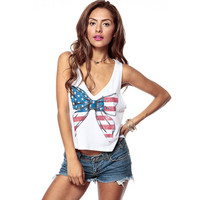 Fashion Ladies July Fourth Sleeveless Summer Tops Vest Stars And Stripes 4th Of July Clothing