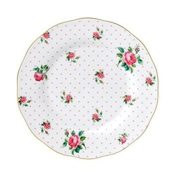"Royal Albert China New Country Roses Cheeky Vintage Salad Plate, 8.3"", White/Pink"