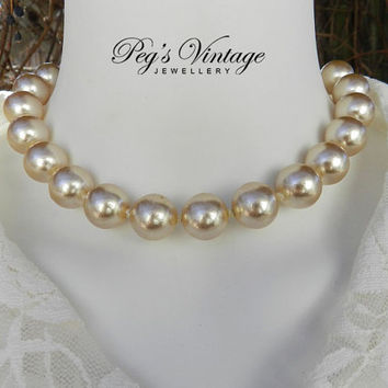 Large Ivory Knotted Faux Pearl Vintage Choker/Collar, Bridal Necklace