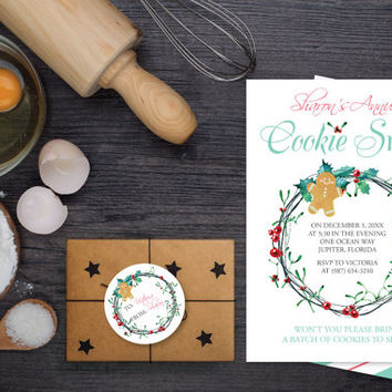 DIY Editable Holiday Invitation ~ MS Word Template, Cookie Exchange Invitation Template, Cookie swap invite, Cookie Party, Gingerbread Man
