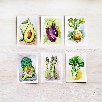 Set of 3 original watercolor painting cards, ACEO cards, kitchen home or office decor for vegetables lovers, veggie gift idea, vegan cards