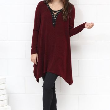 Lace Up Neckline Handkerchief Dress {Burgundy}