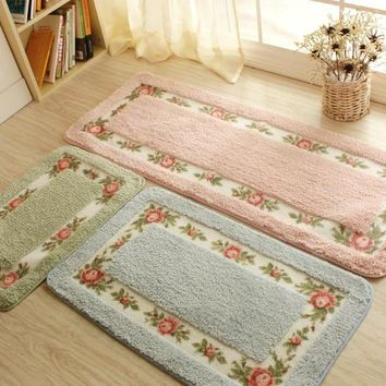 Pastoral Floor Carpet Living Room Bedroom Carpet Area Rug Anti-slip Floor Mat Bathroom Carpet Mat Kitchen Mat Home Textile