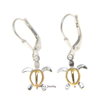 SILVER 2 TONE SMALL HONU DANGLING LEVERBACK EARRINGS