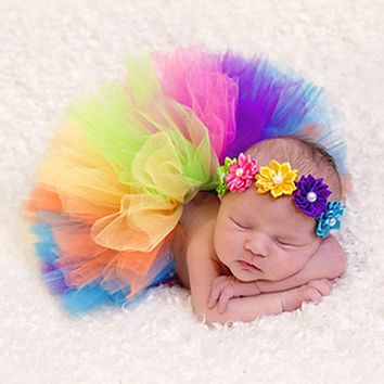 Baby Newborn Photography Accessories Peacock Handmade Baby Rainbow Tutu Skirt Newborns Photography Props Photo Props