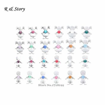 Birthstone Boy Girl floating charms for lockets like love months child birth children mom grandma LFC_1470-1