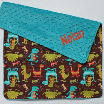 PERSONALIZED Baby Boy Dino Dudes Dinosaur Stroller Blanket - Teal Dot Minky