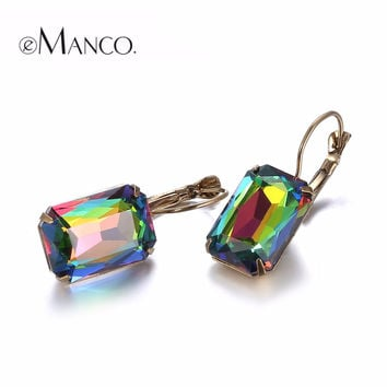 eManco 19 Color Hot Now Minimalist Geometric Lever-Back Dangle Drop Earrings for Women Blue Crystal Opal  Jewelry Accessories
