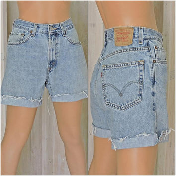 "Vintage Levis 505 cut off jeans 32"" waist size 8 / 9 / LEVI'S  100% cotton / high waisted light wash denim cutoffs shorts"