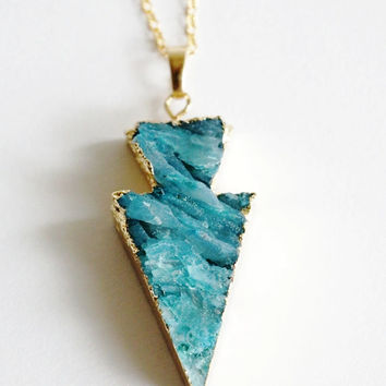 Gold Coated Arrow Head Blue Agate Raw Necklaces - Natural Stone Gemstone Pendant Rough Druzy Crystal Colourful unique, rustic