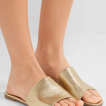Gianvito Rossi - Metallic leather slides