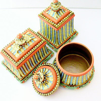 Trinket Jewelry Box Set of 3 - Coral Pink Yellow Blue Lidded Boxes with Gold Leaf