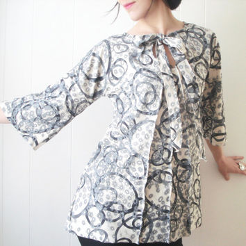 The Wandering Kind - iheartfink Handmade Hand Printed Womens Keyhole Bell Sleeves Retro Modern Wearable Art Trapeze Cotton Jersey Tunic Top