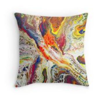 'Abstract Fluid Art Painting' Throw Pillow by Maria Meester