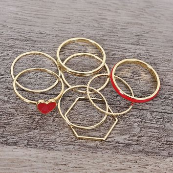 Heart-Shaped Enamel Charm Ring Set