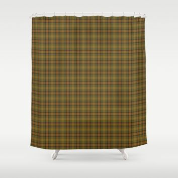 Gold Olive Plaid Shower Curtain by Deluxephotos