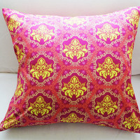 "Plum & Gold Pillow 18x18 Decorative Pillow Cover ""Color Me Crazy"" Collection"