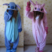 Adult Animal Kigurumi Pajamas Costume Cosplay pyjamas Blue Stitch Pink Stitch