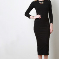 Women's Ribbed Knit Long Sleeve Midi Dress