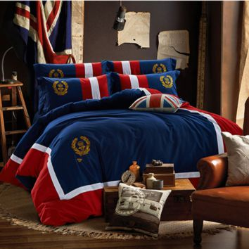 Personality fashion bed supplies British badge cotton quilt bed sets