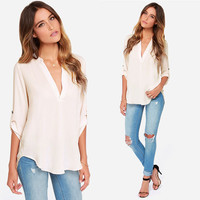 V-neck 3/4 Sleeve Loose Chiffon Shirt