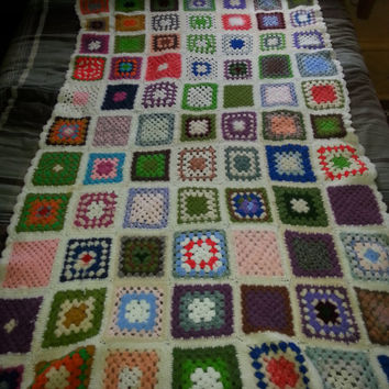 "Vintage 1960s Handmade Wool Crochet Granny Square Afghan - with Angora Rabbit Crochet into Afghan - 46"" x 71"""